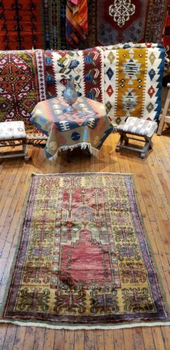Masterpiece Late 1940's Museum Quality Classic Antique Konya Inlice  Prayer Rug