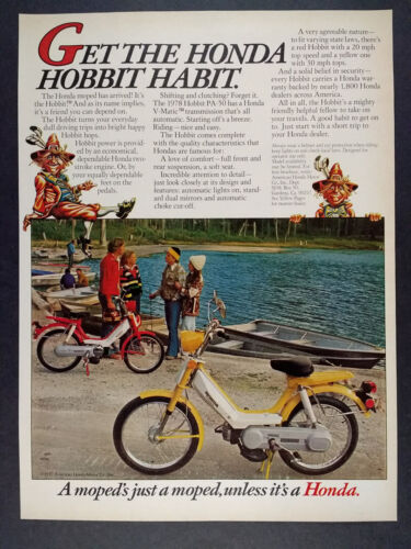 1978 Honda Hobbit Moped color photo vintage print Ad