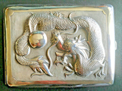 19TH CENTURY CHINA CHINESE EXPORT HIGH RELIEF DRAGON SILVER CASE BOX