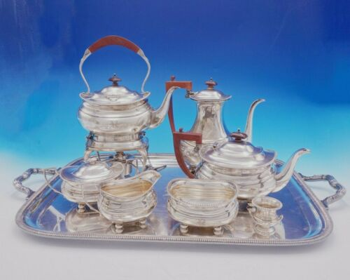 Adie Brothers English Sterling Silver Tea Set 7pc w/Tray George II Style (#3418)