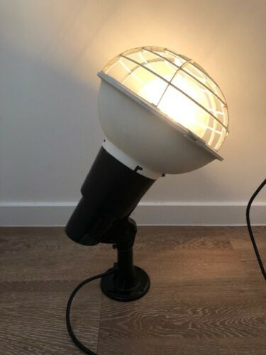 Rare Mid Century Vintage Industrial Cast Aluminium Lamp Mountable with Cage