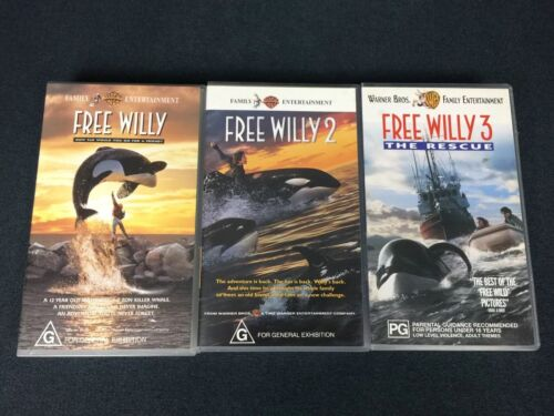 Free Willy Trilogy VHS Lot The Rescue Great Condition Family Entertainment