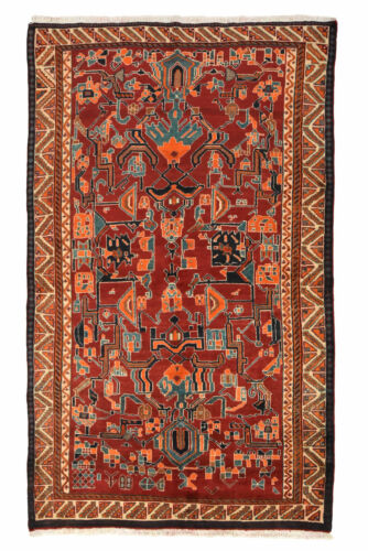 Vintage Tribal Oriental Qashqai Design Rug, 5' x 8', Red/Ivory, All wool pile