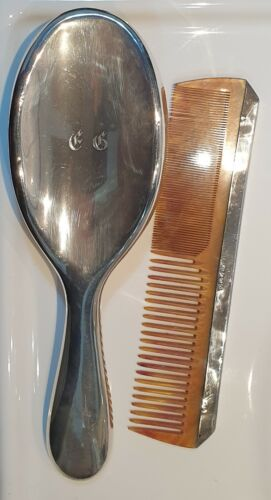Antique Brush & Comb Vanity Sterling Silver Monogrammed 2pc 1900's