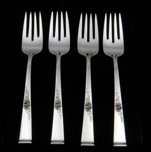 Reed & Barton Classic Rose Sterling Silver Salad  Fork -4 Pieces, NO MONOGRAMS