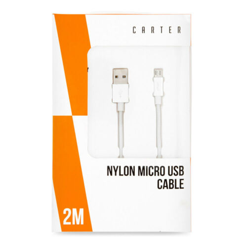 Carter 2m Micro USB Nylon Data Sync/Charging Cable Cord f/ Samsung/Android White