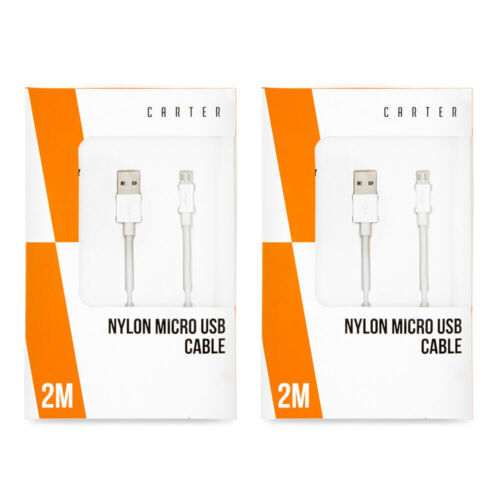 2x Carter 2m Micro USB Nylon Data Sync/Charging Cable Cord f/ Samsung/Android WH