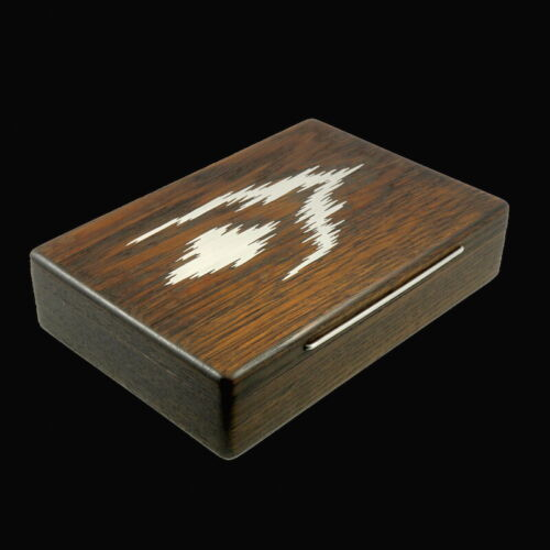 Bog Oak Box with Inlaid Sterling Silver 'Abstract Motif'- Denmark - 1960s