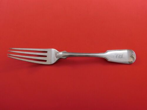 """Fiddle Thread by Brower and Rusher Coin Silver Dinner Fork Very Heavy 8 1/4"""""""