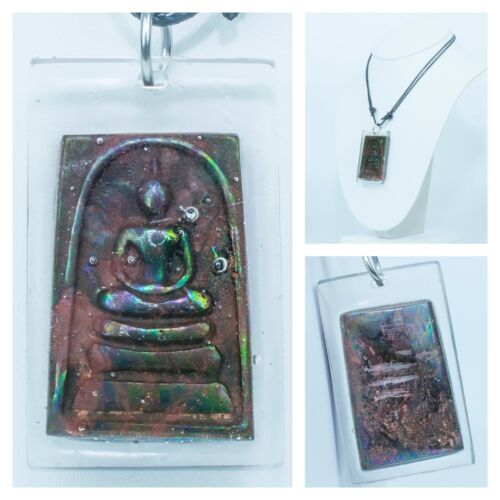 Leklai Rainbow Somdej Umklum Mountain Natural stone thai buddha amulet re005