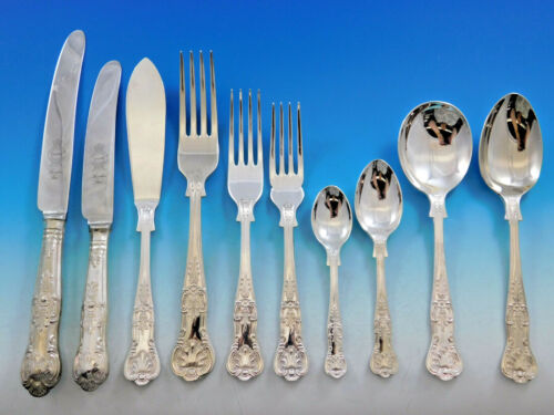 Queens by Sheffield English Silverplated Flatware Set Service 125 pieces Dinner