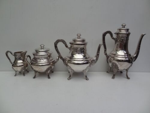Silver 800 Coffee and Tea set fourpiece in LXV style Belgian silversmith
