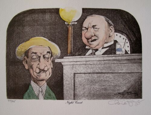 Charles Bragg NIGHT COURT Hand Signed Limited Edition Color Lithograph Art