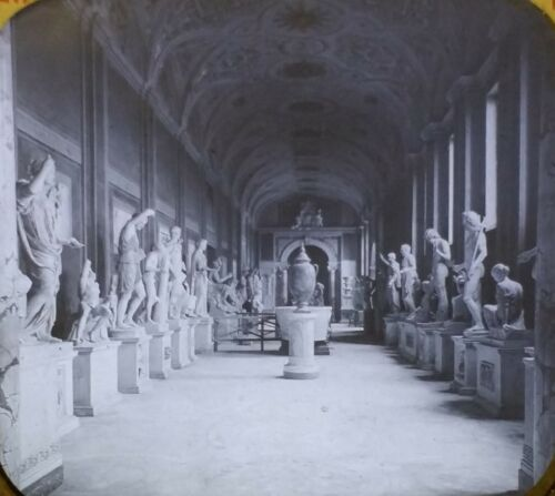 Gallery of Statutes in the Vatican Museum, Rome Italy Magic Lantern Glass Slide