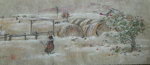 Debbi Chan Watercolor on Silk With Embroidered  Early October Snow unframed