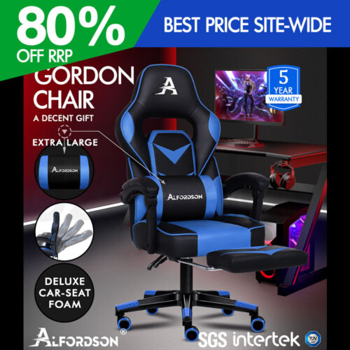 ALFORDSON Gaming Chair Office Seat Thick Padding Footrest Executive Racing Blue <br/> The Seat for 2020, Smart, Cool & Amazing!