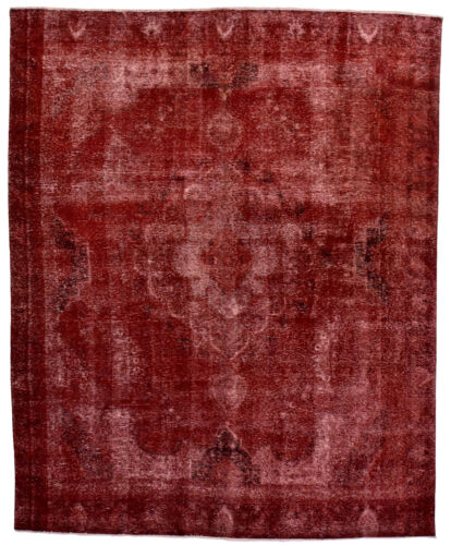 Vintage Turkish Overdyed Rug, 9' x 12', Red, Hand-Knotted Wool Pile