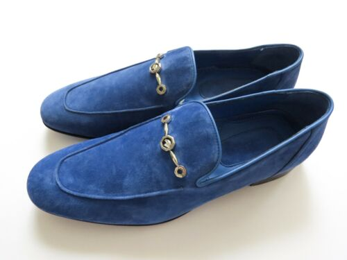 STEFANO RICCI Blue Suede with Silver Eagle Shoes Loafers Size 8 US 41 Euro 7 UK