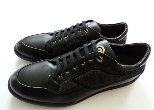 STEFANO RICCI Navy Grain Leather with Silver Eagle Shoes Size 8 US 41 Euro 7 UK