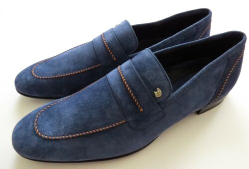 STEFANO RICCI Blue Suede with Silver Eagle Shoes Loafers Size 12 US 45 EU 11 UK