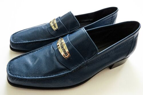 STEFANO RICCI Blue Soft Perforated Leather Shoes Loafers Size 9 US 42 Euro 8 UK