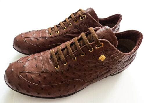 STEFANO RICCI Brown Ostrich Leather with Eagle Sneakers Shoes 9 US 42 Euro 8 UK