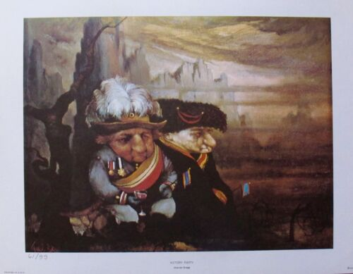 Charles Bragg VICTORY PARTY Facsimile Signed 1970 Color Lithograph Art