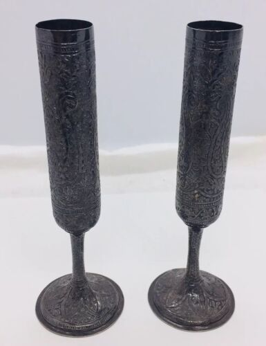 Antique Persian Ornate Sterling Silver Pair Candlestick Holders