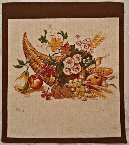 VINTAGE  FLORAL ART CORNUCOPIA  BROWN  RED GREEN COTTON  WALL TAPESTRY