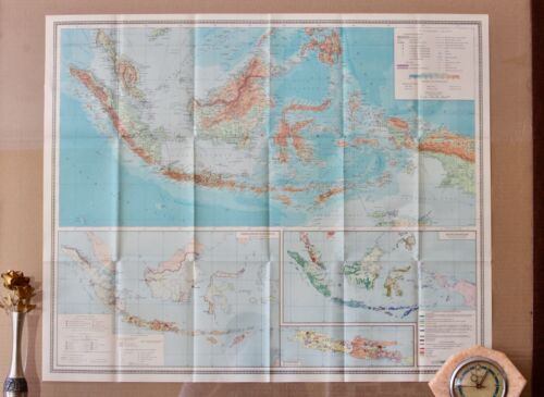 Vintage Indonesia Map 50s Original Folding Paper Map Old School Map