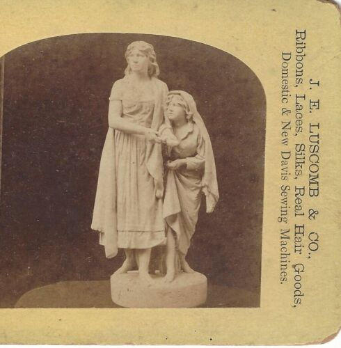 Stereoview Card to Advertise J.E. Luscomb & Co, Plymouth Mass, Statue of Women