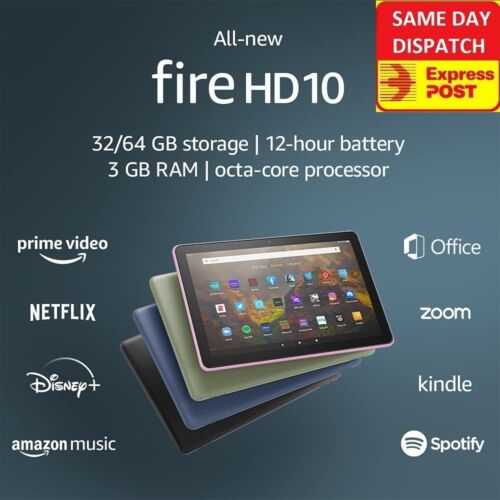 "LATEST AMAZON FIRE HD 10 WiFi TABLET 10.1"" 32Gb 1080p 9th Generation HD10 Kindle"
