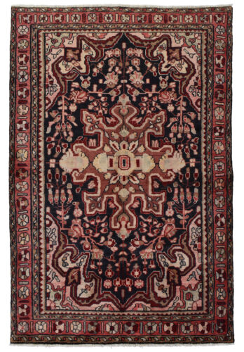 Vintage Tribal Oriental Malayer Rug, 5'x7', Blue/Red, Hand-Knotted Wool Pile