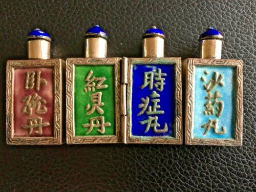 19TH CENTURY CHINA CHINESE SILVER ENAMEL 4 IN ONE FOLDING MEDICINE SNUFF BOTTLES