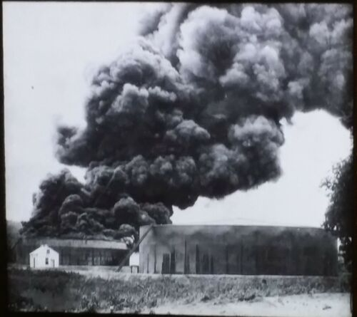Oil Tank on Fire, U.S Bureau of Mines Image, Magic Lantern Glass Slide