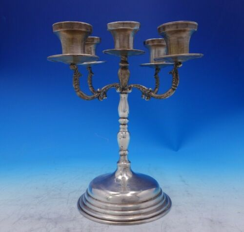 "Hnos Sanchez Mexican Sterling Silver Candelabra 5-Light 10 1/4"" Tall (#3892)"