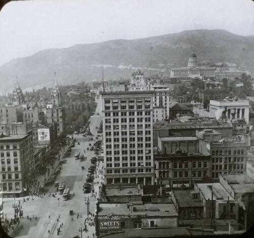 Salt Lake City, Utah, Circa 1920's, Original Magic Lantern Glass Photo Slide