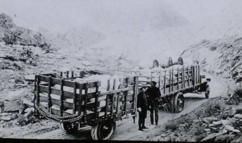 Truck and Trailer on Mountain Road, 1929 or Earlier, Magic Lantern Glass Slide