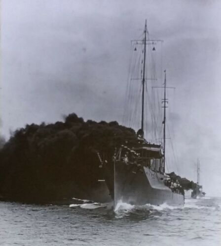 Navy Smoke Screen, Destroyers Cassin & McDougal, 1919 Magic Lantern Glass Slide