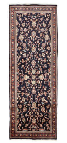 Vintage Oriental Malayer Runner, 4'x10', Blue/Red, Hand-Knotted Wool Pile