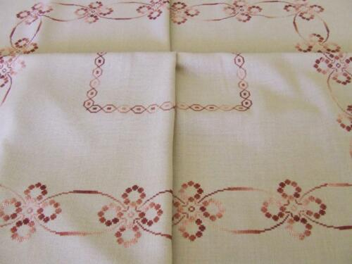 Hand Embroidered Large Tablecloth Worked in Cross Stitch Pattern 154 x 118 cm