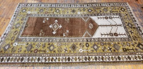 """Antique Cr1900-1939s Muted Natural Dye Wool Pile Legendary Milas Rug 4'6""""×7'2"""""""