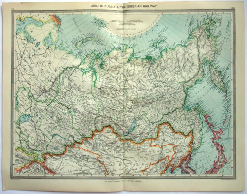 Original Map of Asiatic Russia & the Siberian Railway c1907 by George Philip