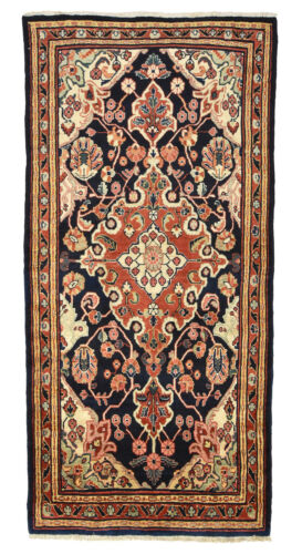 Vintage Persian Malayer Rug, 4'x8', Blue/Red, Hand-Knotted Wool Pile