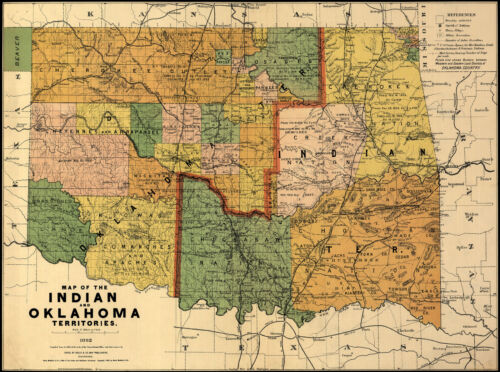 1892 Map Indian and Oklahoma territories Native Americans History Wall Poster