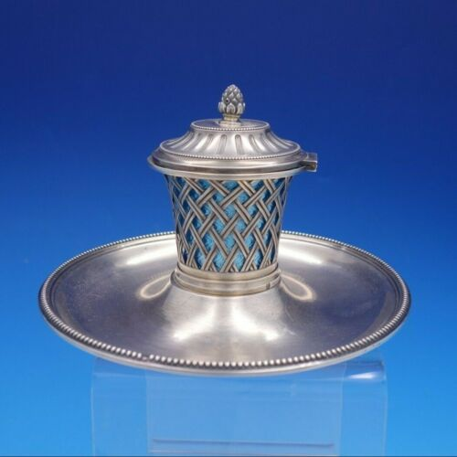 French Silver Inkwell with Guilloche Enamel Insert and Hinged Lid (#4216)