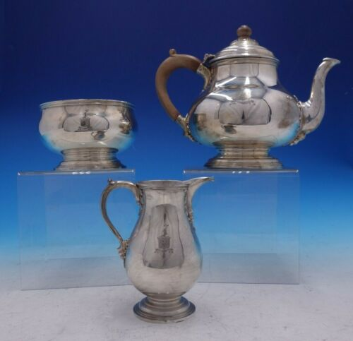 Estate English Silver Three Piece Tea Set with Wood Handle and Finial (#4235)