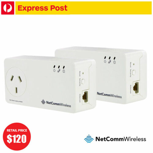Netcomm NP511 500Mbps Powerline Kit x2 AC Pass-Through FOXTEL Branded
