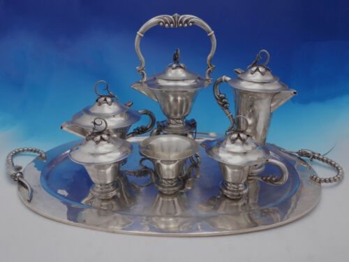 Blossom Mexican Mexico Sterling Silver Tea Set 7-Piece (#4416)