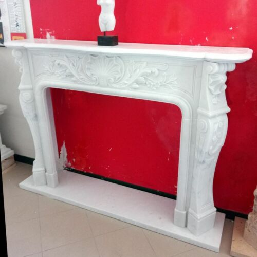 CORNICE CAMINO IN MARMO SCOLP.BIANCO 7 CM135-150 Classic Stone Marble Fireplace